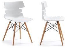 TIVAN in legno e polipropilene Sedia colore nero,grigio o bianco gambe in legno…
