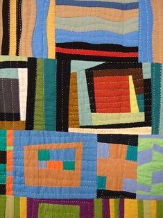 "close up, Lisa Filion's Quilt (upstatelisa) seen at Waterwheel House Quilt Shop.  Improv piecing, big stitch hand quilting ""a la Kaffe Fassett"""