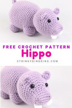 Free Hippo Amigurumi Crochet PatternCrochet a cute and easy hippo with this free amigurumi pattern! Easy Crochet Animals, Crochet Hippo, Crochet Lovey, Crochet Patterns Amigurumi, Free Crochet, Crochet Cats, Crochet Birds, Crochet Food, Boy Crochet Patterns