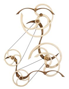 Sky Duet by David C Roy of Wood That Works - spring driven kinetic sculpture