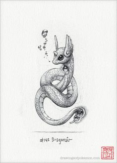 Dragonair 5 x 7 print pokemon drawing art by RockyHammerEtsy
