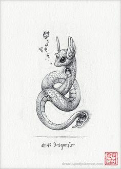 Dragonair 5 x 7 print pokemon drawing art by RockyHammerEtsy