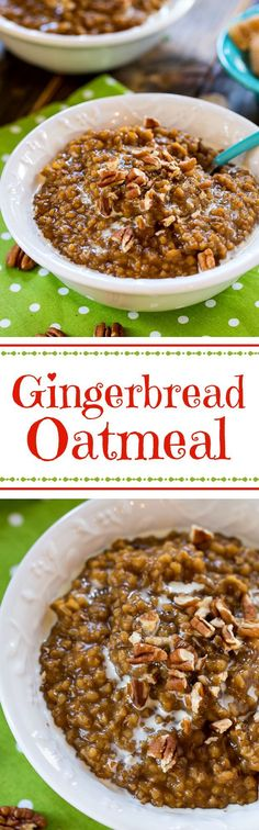 Gingerbread Steel-Cut Oatmeal topped with pecans. Boiling the oats the evening before makes them a cinch to make in the morning.