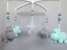 10 Cute Hippo Amigurumi Crochet Patterns Free and Paid Baby Knitting Patterns, Crochet Patterns, Crochet Mobile, Baby Hippo, Baby Mobile, Pottery Barn Kids, Diy Toys, Mobiles, Crochet Toys