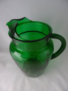 SOLD What is your favorite flavor of Kool-Aid?  Mine is cherry.  Glass Pitcher Anchor Hocking Forest Green by TheMichiganAttic