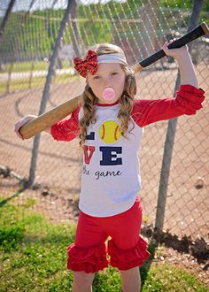 Softball LOVE the Game Ruffled Raglan Shirt for Girls Softball Photos, Girls Softball, Cheerleading Hair Bows, Cheer Bows, Girl Hair Bows, Girls Bows, Mommy And Me Outfits, Trendy Collection, Team Apparel