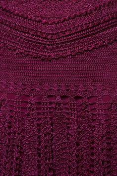 Burgundy Long Reaf Crochet Dress - Vanessa Montoro - vanessamontorolojausa