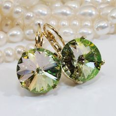 Green Crystal Earrings Luminous Green Drop Earrings by TIMATIBO