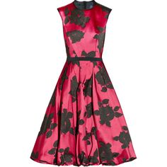 Lanvin Belted floral-jacquard dress (7.390 BRL) ❤ liked on Polyvore featuring dresses, vestidos, lanvin, red, fuchsia, red stretch belt, fitted dresses, red elastic belt, fuschia dress and floral dresses