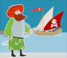ilustración, dibujo, gente, pirata