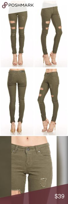 PREORDER Olive Stretch Destroyed Skinny Jeans The perfect color - a flattering fit! Olive stretch skinny jeans with 5 pockets 98% Cotton 2% Spandex Jeans Skinny