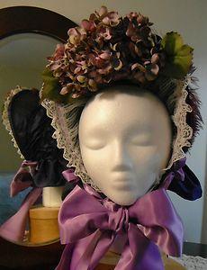 Ladies Civil War Era Purple Silk Drawn Spoon Bonnet
