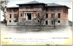"University of Oklahoma Postcard ""Library"" Campus Scene 1907 Norman OK Cancel"