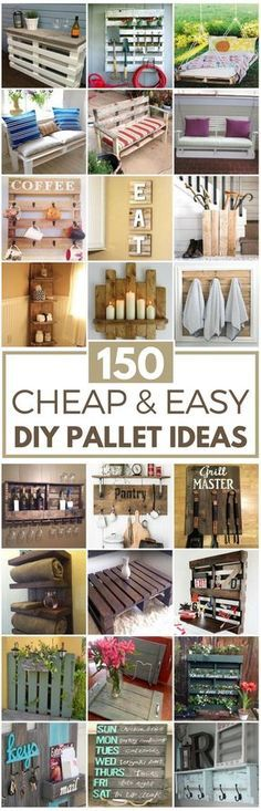 150 Cheap & Easy DIY Pallet Ideas Transform free pallets into creative DIY furniture, home decor, planters and more! There are over 150 easy pallet projects here for your home and garden Wooden Pallet Projects, Wooden Pallet Furniture, Pallet Crafts, Repurposed Wood Projects, Wooden Crates, Free Pallets, Recycled Pallets, Wood Pallets, Pallet Wood