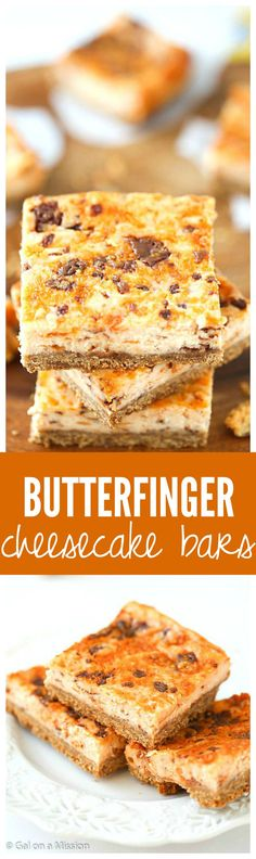 These Butterfinger Cheesecake Bars are amazing and perfect for the Butterfinger lover! They will make your tastebuds explode!