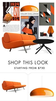 """ORANGE AND BLACK"" by tiziana-melera ❤ liked on Polyvore featuring interior, interiors, interior design, home, home decor, interior decorating, FontanaArte, Noble Isle and LORENZ"