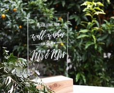 Wedding Wishing Well Sign. Mr and Mrs Acrylic Sign. Well Wishes. Guest Sign In Table Decoration. Wedding Wishing Well. Guest Book. Perspex Sign. by FoxAndHart on Etsy