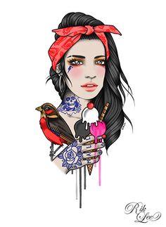 Girl with tattoos, bird & ice Cream by Rik Lee #hipster #rock #tattoos #icecream #bird