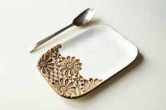 White Spoon Rest Ceramic Plate Spoon Holder Ceramics and by bemika