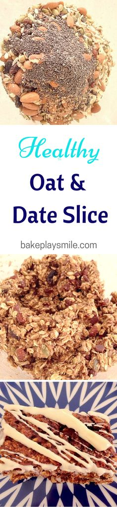 This is the best guilt-free snack! I love to make a big batch of this Healthy Oat & Date Slice on the weekends for treats during the week. Lunch Box Recipes, Snack Recipes, Healthy Recipes, Raw Recipes, Lunchbox Ideas, Oatmeal Recipes, Healthy Foods, Healthy Eating, Sweet Recipes