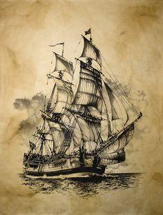 Bateaux Woman T-shirts wonder woman movie t shirt mens Pirate Ship Drawing, Pirate Ship Tattoos, Pirate Art, Pirate Ships, Pirate Crafts, Old Sailing Ships, Ship Paintings, Nautical Art, Nautical Tattoos