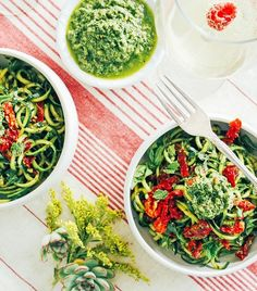 Brazil nut pesto over zucchini noodles and red peppers