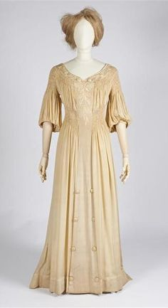 Circa 1910 smocked and embroidered beige silk Reform summer dress by Metz & Co., Amsterdam.