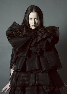 Sculptural Fashion - black dress with soft layered volume; fashion as art // Anna Chong