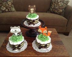 Woodland Mini Diaper Cakes Baby Shower by bearbottomdiapercakes