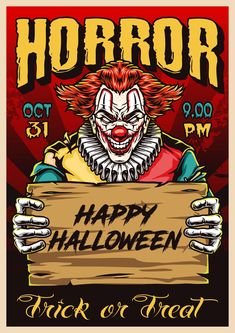 Halloween Party Poster with Joker. Find Halloween vector designs on our website. 100% vector with editable text.