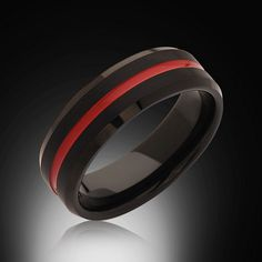 Men's Red and Black Tungsten Ring,8mm,Unique,Satin Black Brushed, Red Groove,Tungsten Ring,,Wedding Band,Comfort Fit