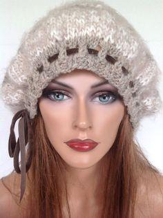 Beret Hat Slouch Beanie Hand Knit Beige Designer Fashion Hip Chic Velvet Tie  #HANDKNITS2LOVEMy4SeasonHandKnits #BeretSlouchBeanieHatTamCap