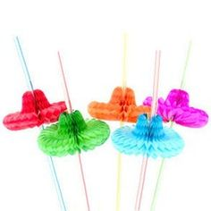 Private Island Party  - Fiesta Party Supplies Sombrero Straws 12 Pack 1885, $0.30 - $1.99     Our festive assortment of party straws are each accented with a colored crepe sombrero. These little guys are an ideal finishing touch to any summer time party, birthday, or Cinco de Mayo celebration. Sold by the dozen.