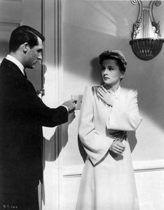 Cary Grant and Joan Fontaine in Hitchcock's Suspicion, 1941