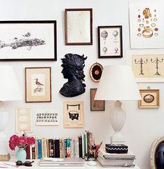 studio apartment, NYC, Union Square, ikea expedit bookcase, white parsons desk, louis chair painted black, Domino magazine