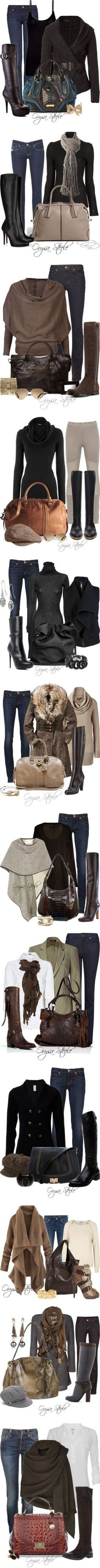Fall outfits and they all look fierce to me. I don't know what I love more the outfits or the boots. Style Work, Mode Style, Style Me, Style Hair, Mode Outfits, Casual Outfits, Fashion Outfits, Womens Fashion, Latest Fashion