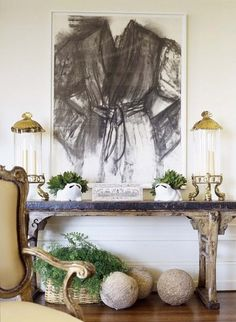 console table and wall decoration