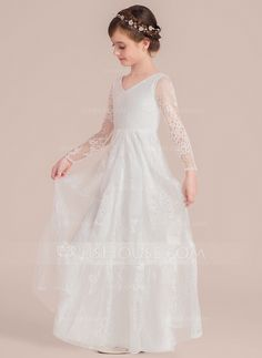 8d0a8aa512 A-Line/Princess Floor-length Flower Girl Dress - Lace Long Sleeves V