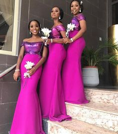 2019 Fuchsia Mermaid Bridesmaid Dresses Sequins Floor Length Maid of Honor Dress Plus Size Formal Wedding Party Gowns Petite Bridesmaids Dresses, African Bridesmaid Dresses, Mermaid Bridesmaid Dresses, Mermaid Dresses, Wedding Bridesmaids, Wedding Dresses, Maid Of Honour Dresses, Maid Of Honor, Latest African Fashion Dresses