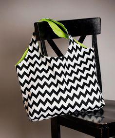 Tote Bag Original Chevron Black and White With Lime Green Interior Washable Eco Friendly.