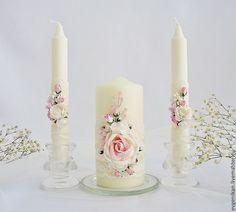 """Купить Семейный очаг """"Аромат весны"""" - бледно-розовый, семейный очаг, свадебные свечи"""