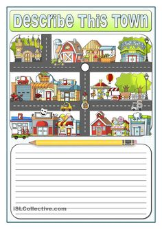 Students pay attention to the buildings in the map given and describe the town. English Activities, Vocabulary Activities, Writing Activities, English Tips, English Lessons, Learn English, Esl Lessons, English Writing, Teaching English