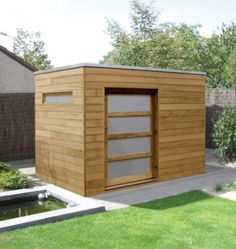 Iroko Box - a stylish solution to garden storage. (Side window is non-standard).