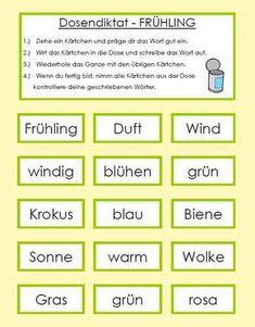 Dosendiktat - Frühling Father, Education, School, Tips, U2, Corona, Learn English For Free, Teaching Materials, Pai