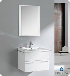 Cielo 24 inch White Finish Modern Bathroom Vanity