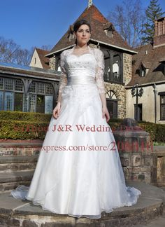 Lace Embroidery Organza A Line Plus Size Wedding Dress with Matching 3/4 Sleeved Jacket Detachable Chapel Train Bridal Gown 4558-in Wedding ...