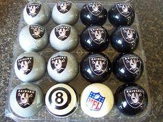NFL Oakland Raiders Pool / Billiard Cue Ball Home Vs Away Set  Great