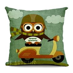 Fashion Decorative High Quality Owl Design Pattern Colorful Throw Pillow Covers 7 Designs
