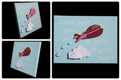 3D Nursery Art - Airplane, Clouds - where ever you go, go with all your heart