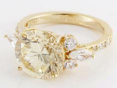 Bella Luce (R) Dillenium Cut 7.17ctw Canary & White Diamond Simulant Eterno (Tm) Yellow Ring